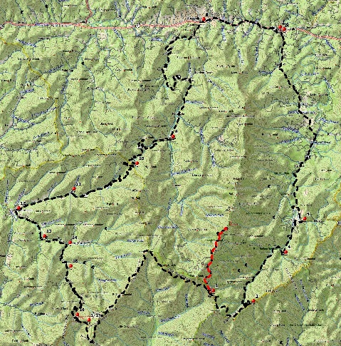 WNC Dirty Dozen Dual Sport Map - Circumnavigate Mt. Mitchell Loop