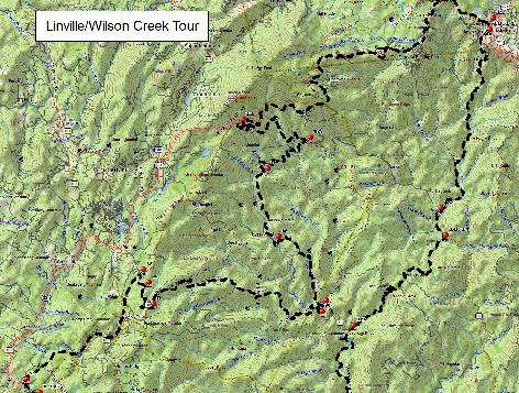 WNC Dirty Dozen Dual Sport Map - Linville/Wilson Creek