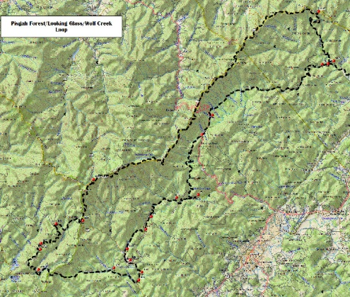 WNC Dirty Dozen Dual Sport Map -Pisgah Forest/Looking Glass/Wolf Mtn. Loop